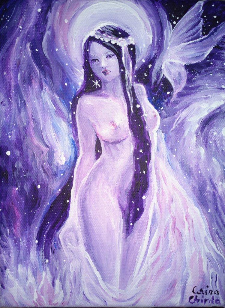 Mireasa divina, eternul feminin sau fata din vis, pictura acrilice pe panza
