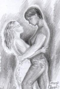 O imbratisare, desen in creion