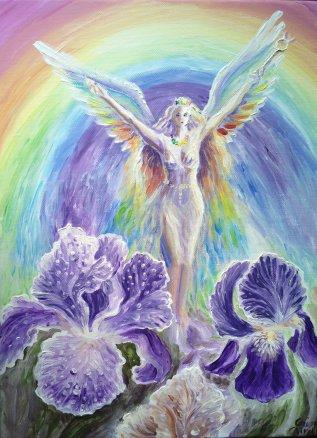 Iris, zeita curcubeului din mitologia greaca, pictura acrilice pe panza