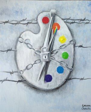 Situatia artistilor din Romania, pictura acrilice pe panza