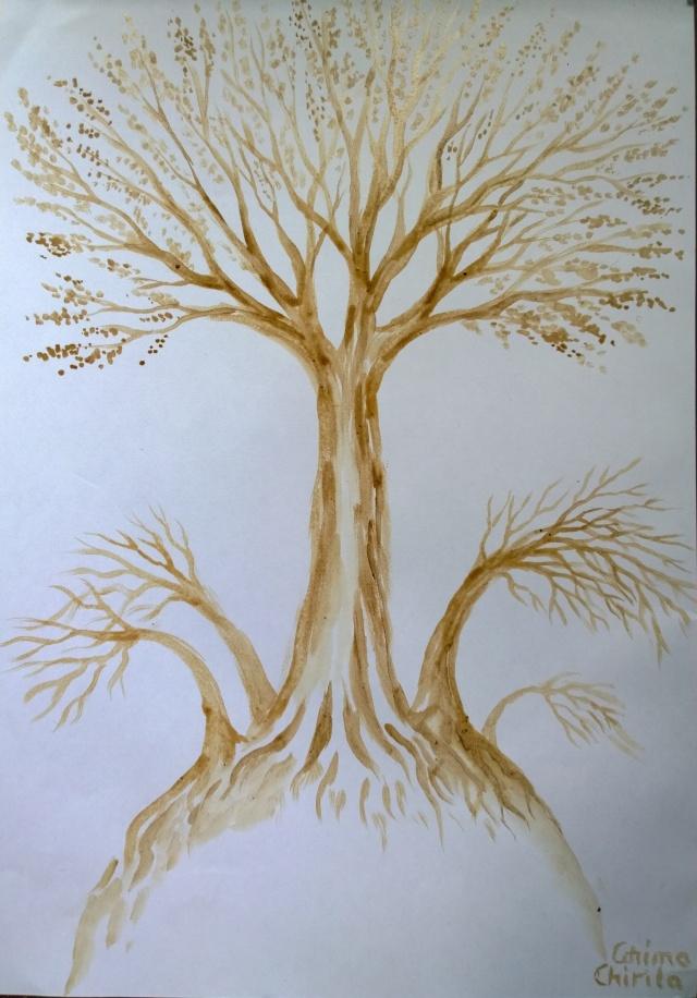Arborii care cresc in umbra arborilor seculari pictura facuta cu cafea