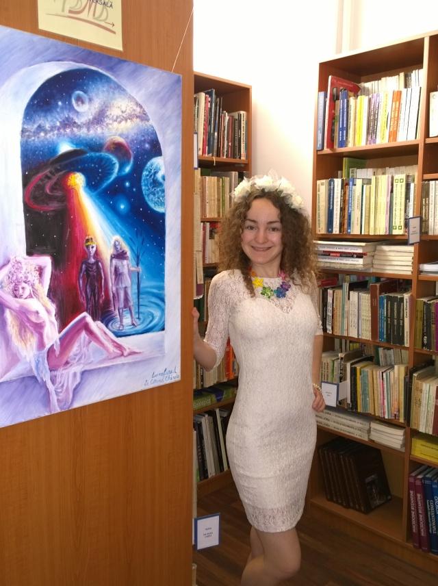 Eu si Luceafarul, pictura in ulei pe panza inspirata din poezia lui Mihai Eminescu, la Mdeiateca George Enescu
