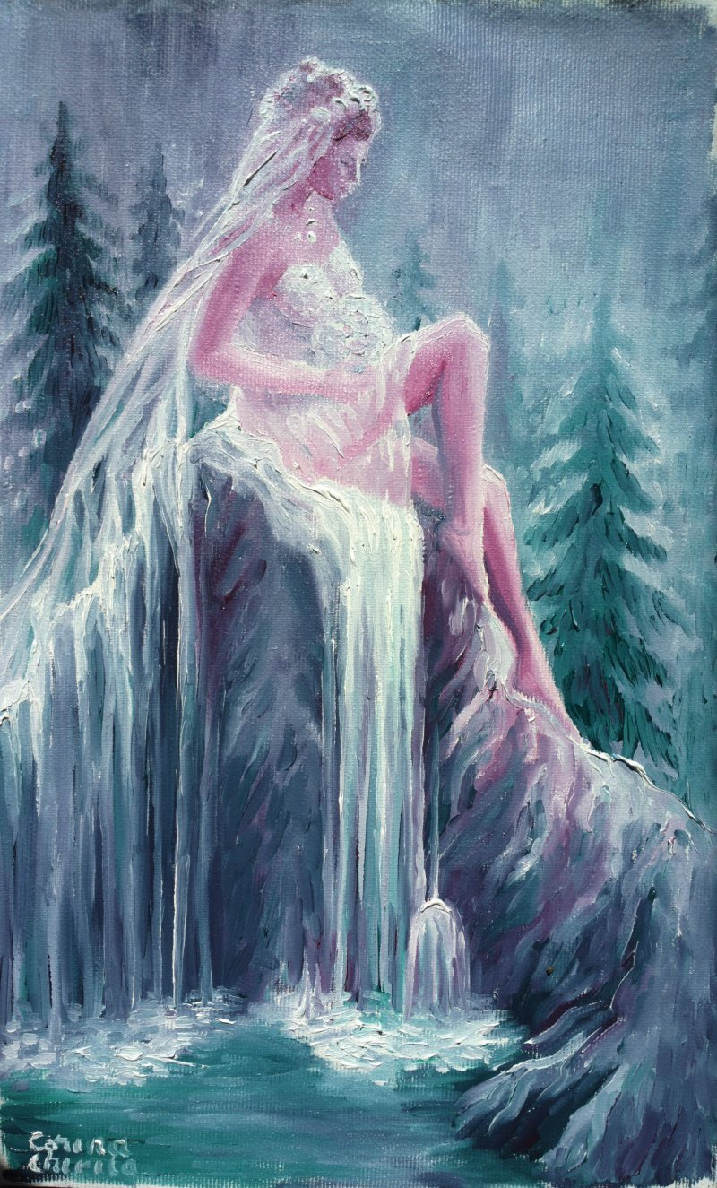 Legenda cascadei valul miresei - Mireasa nefericita pictura ulei pe panza Bride oil on canvas painting