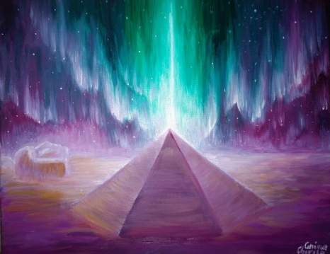 Energia piramidelor din zona Cydonia si aurora martiana pictura ulei pe panza
