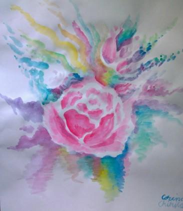 Pictura acuarela cu flori