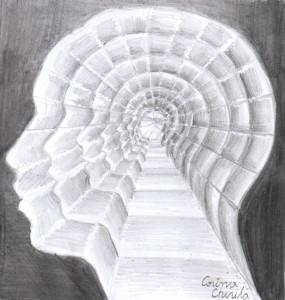 Introspectie, desen in creion