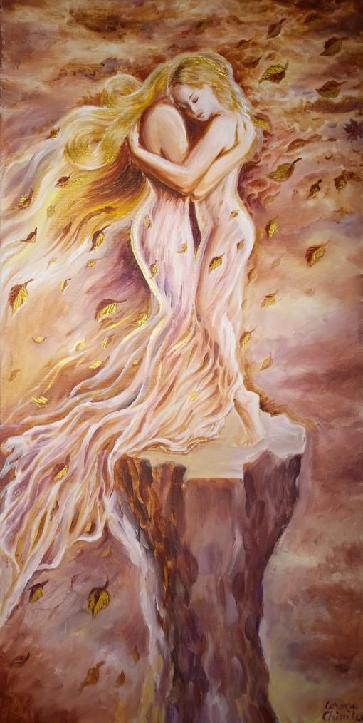 O pictura in acrilice pe panza despre o iubire fragila, in bataia vantului, pe o baza instabila, o poveste trista, tomnatica despre doua fiinte fragile ce se  iubesc desi totul pare sa fie impotriva iubirii lor.