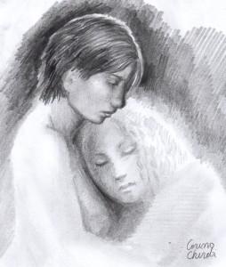 La pieptul iubitei, desen in creion