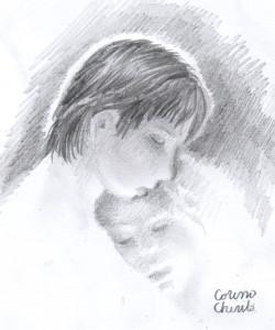 La pieptul ei, desen in creion