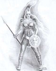 Zeita Atena, desen in creion