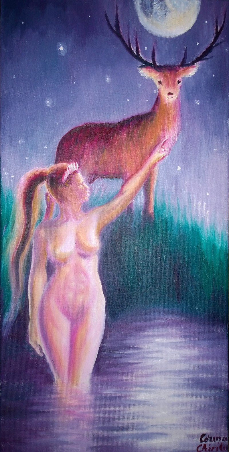 Artemis si Actaeon pictura ulei pe panza - Diana and the legend of Actaeon oil on canvas painting