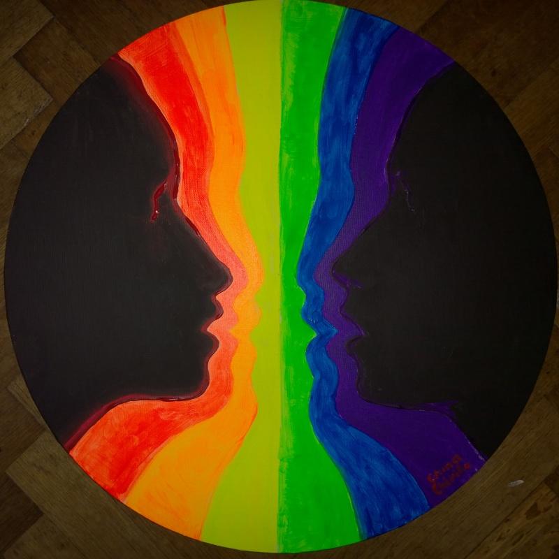 Fantana iubirii pictura fluorescenta