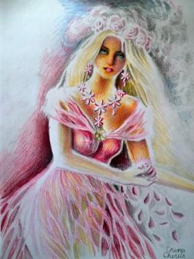 Printesa florilor desen - princess of flowers drawing