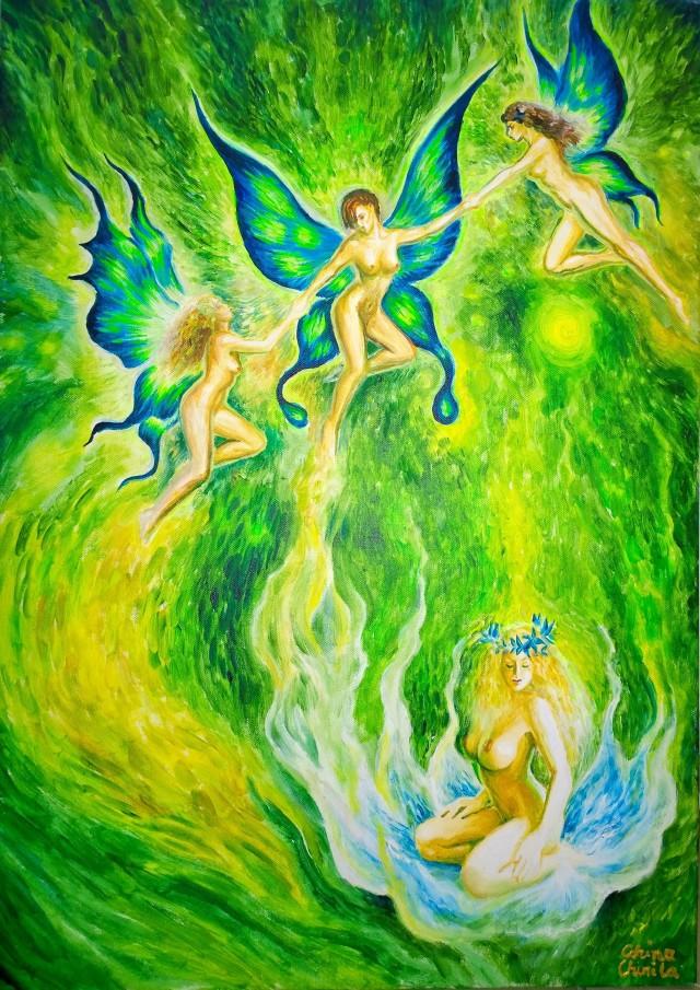Dansul fluturilor pictura fantezie de primavara - Butterfly dance spring fantasy painting