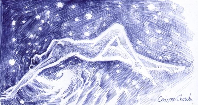 Femeie intre stele si stea intre femei desen in pix