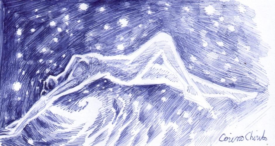 Femeie intre stele si stea intre femei, desen facut cu pixul