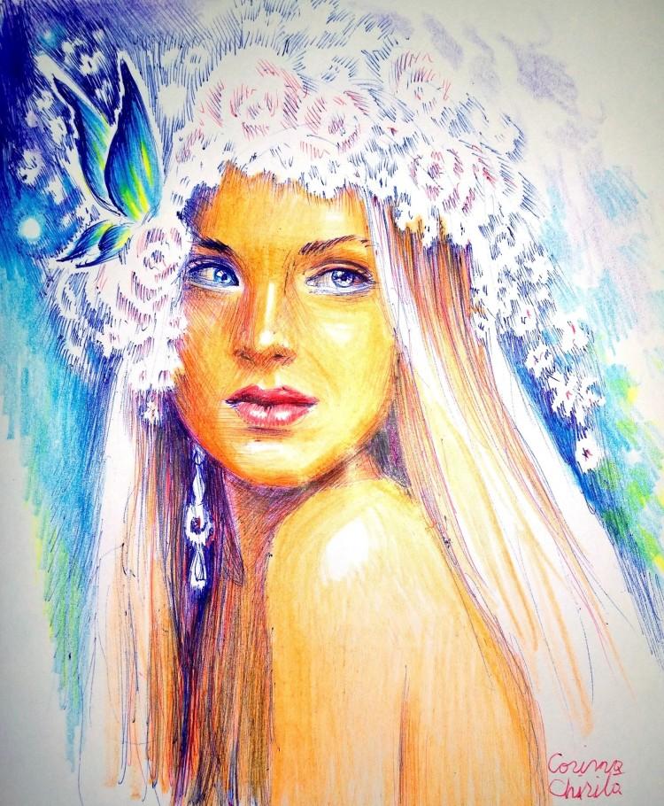 Portret de primavara cu cununa de flori