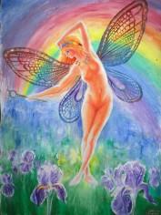 Iris, zeita curcubeului, pictura acrilice pe panza