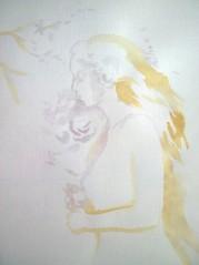 Pictura facuta cu cafea si ceai de fructe