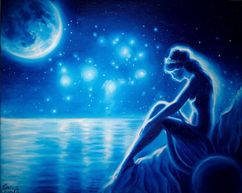 Sappho the Moon and the Pleiades oil on canvas painting - Poeta Sappho luna si pleiadele pictura ulei pe panza