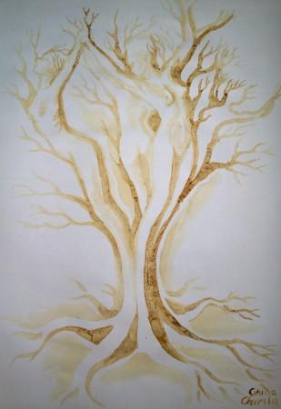 The tree of love coffee painting - arborele iubirii pictura facuta cu cafea