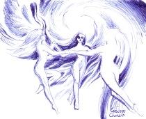 Dansul ielelor Margalina Savatina si Rujalina desen in pix