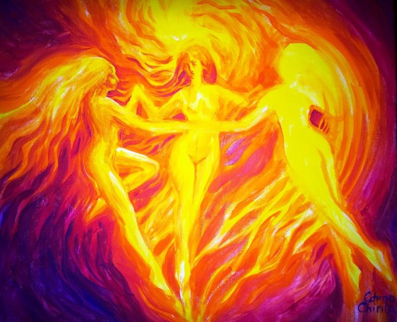 Dansul ielelor Margalina Savatina si Rujalina pictura acrilice pe panza