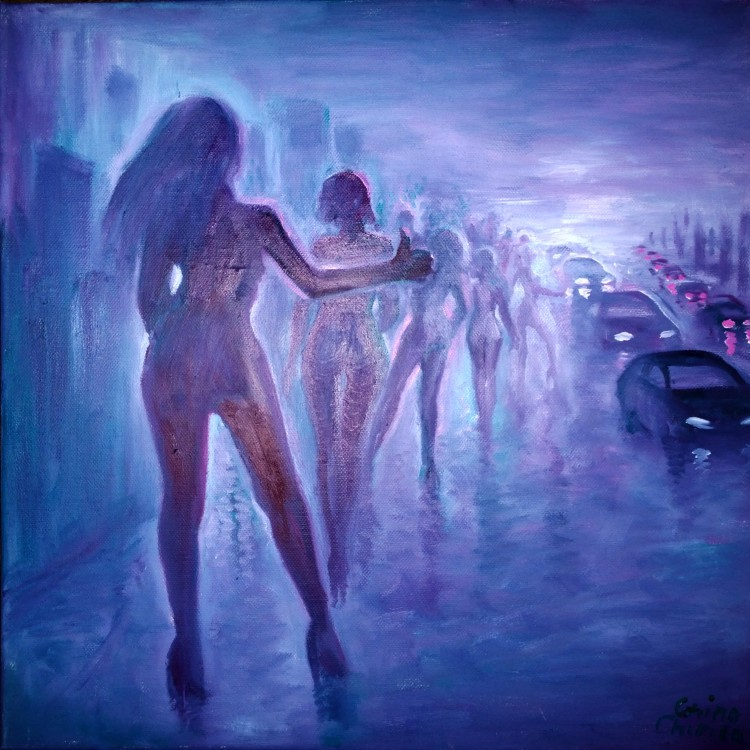Prostitution oil on canvas painting - Prostituate pe marginea strazii pictura ulei pe panza