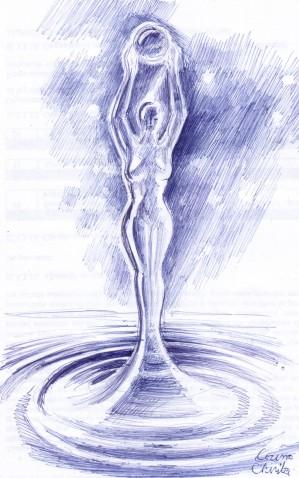 Apa datatoare de viata si nasterea Venerei, desen in pix