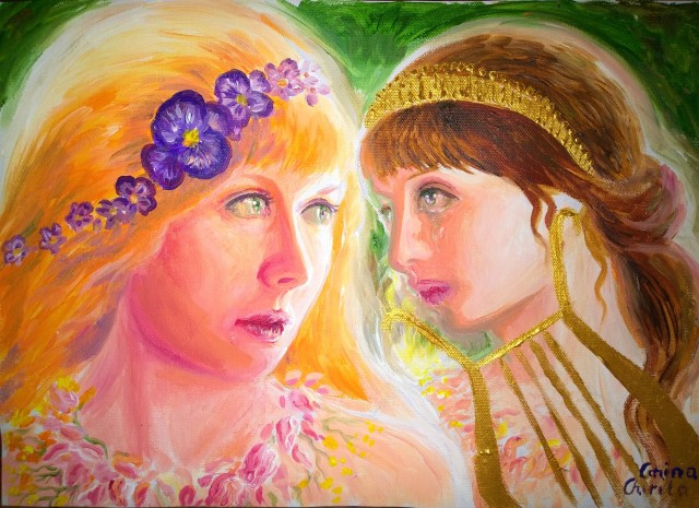 Sappho no word isle of Lesboa painting - Sappho si fata care a plecat pictura