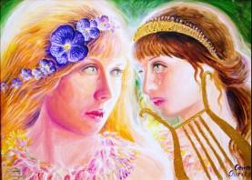 Sappho si fata trista care a trebuit sa paraseasca insula Lesbos, pictura acrilice pe panza