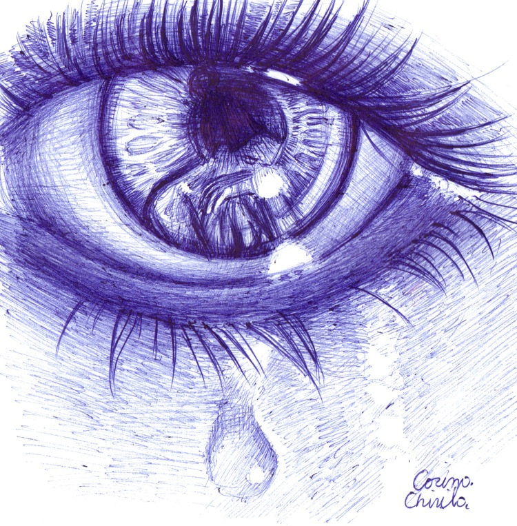 the tears of sadness empathy pen drawing - lacrimi si tristete desen in pix