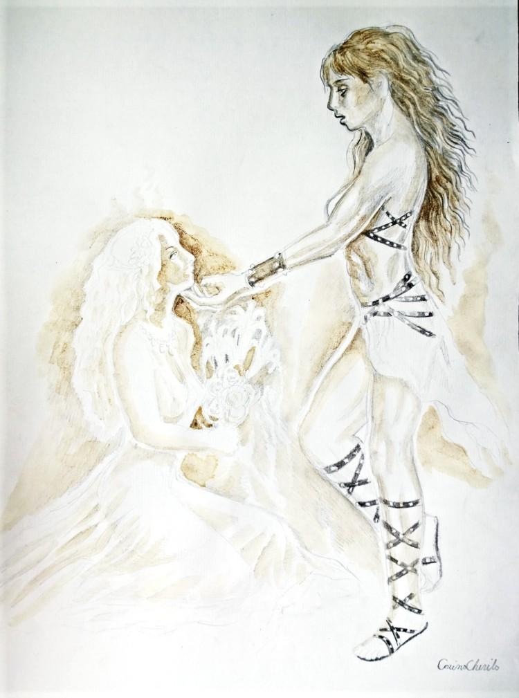Warrior woman and princess coffee painting - Amazoana si printesa pictura facuta cu cafea