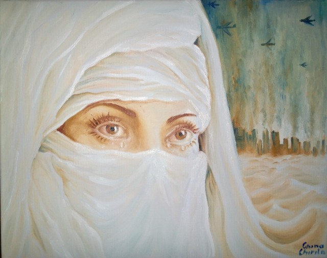 Tears in the desert oil on canvas painting - Lacrimi in desert pictura ulei pe panza