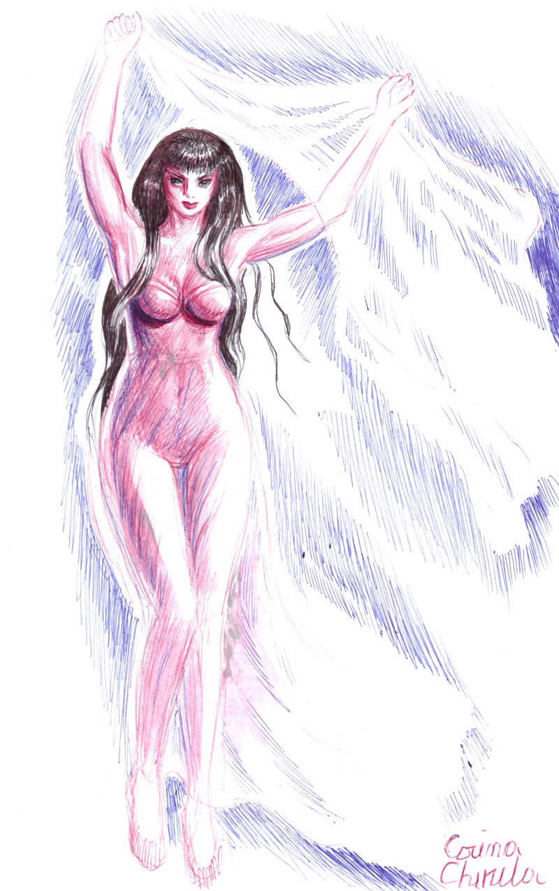 Zana desenata cu pixul si cu ruj de buze