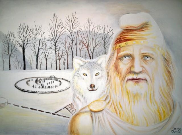 Burebista si lupul dacic la Sarmizegetusa pictura