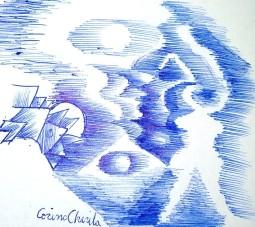 Desen automat cu silueta de tipul zeitelor din neolitic si portret