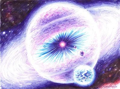Sistem solar cu heliosfera si planeta de tipul Pamantului, desen facut cu pixul