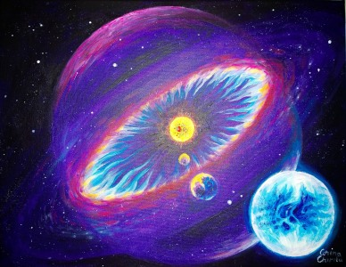 Sistem solar cu heliosfera si planeta de tipul Pamantului, pictura acrilice pe panza