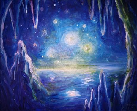Peisaj polar vazut dintr-o pestera de gheata