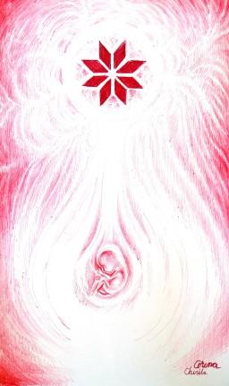 Nasterea zeului soare din focul sacru al ignatului si steaua nordului, desen facut cu pixul