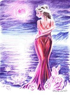 Cu gandul la Atthis desen in pix inspirat de o poezie de Sappho