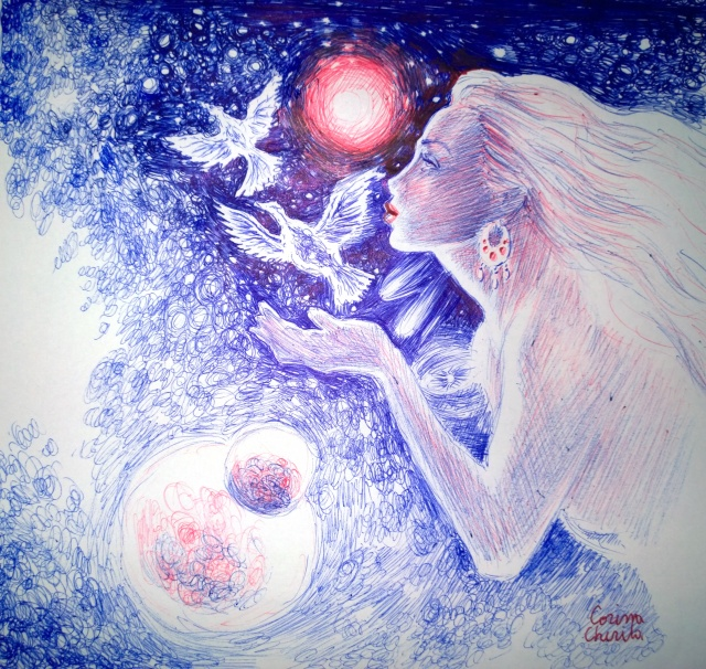fata-cu-pasarile-cerului-desen-in-pix-cosmic-breath-and-flight-ballpoint-pen-drawing