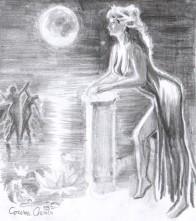 Femeia din Sardis cu gandul la Atthis desen in creion dupa o poezie de Sappho