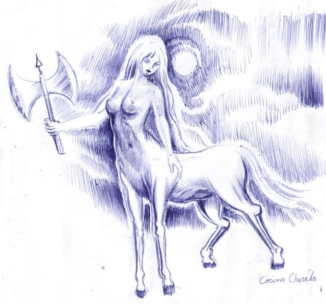 femeie-centaur-desen-facut-cu-pixul