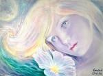 Floare albastra, pictura ulei pe panza