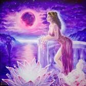 Mnasidica in Lydia, privind marea, amintidu-si cu dor de Atthis, de vocea ei divina, de lira ei magica de cantecul si dansul ei, de viata pe care au trait-o impreuna la thaissosul (clubul de fete, locul unde acestea erau initiate in tainele feminitatii) condus de Sappho pictura acrilice pe panza