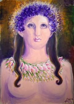 Poeta Sappho prurtand coronita de violete si colierul din flori impletite, boboci de trandafir, brândușe si marar, pictura acrilice pe panza