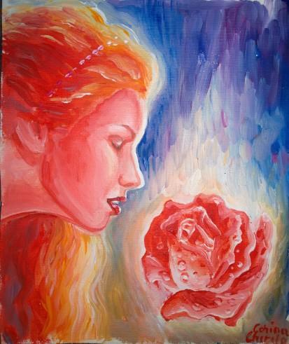 Trandafirul sarutat de buzele Afroditei, pictura acrilice pe panza