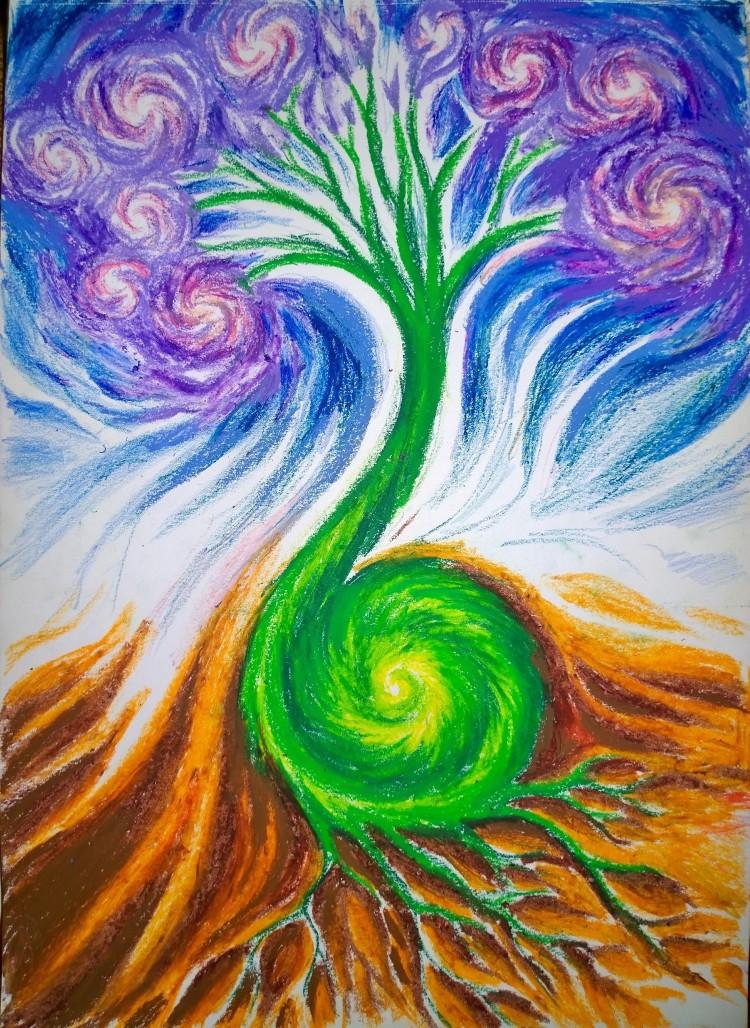 life-from-seed-to-plant-in-the-universe-drawing-un-desen-despre-viata-in-univers-arborele-vietii-de-la-samant-la-planta
